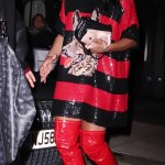 Alex Scott turns heads in a sequinned T-shirt dress and thigh high boots💥👩💥💥👩💥