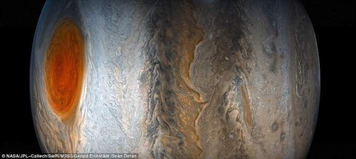 A researcher with the Juno mission says that the Great Red Spot has been shrinking for a long time and is only 1.3 times the size of Earth, whereas in the late 1800s it was the width of four Earths