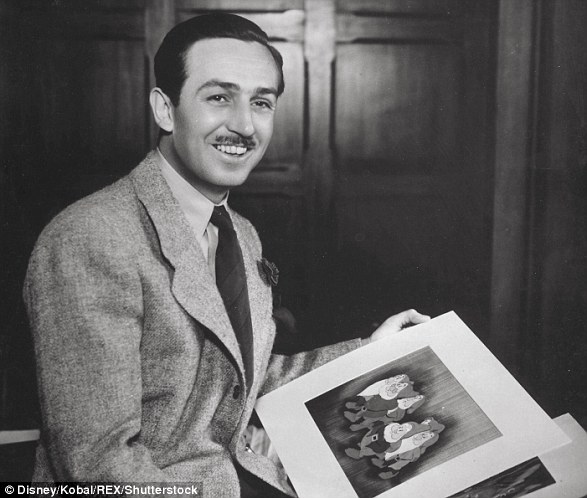 Walt Disney (pictured) released his first feature length film in 1937 and it was called Snow White and the Seven Dwarfs. Here, Mr Disney holds one of the stills from the film which was created by being printed on a 'cell' made of cellulose acetate