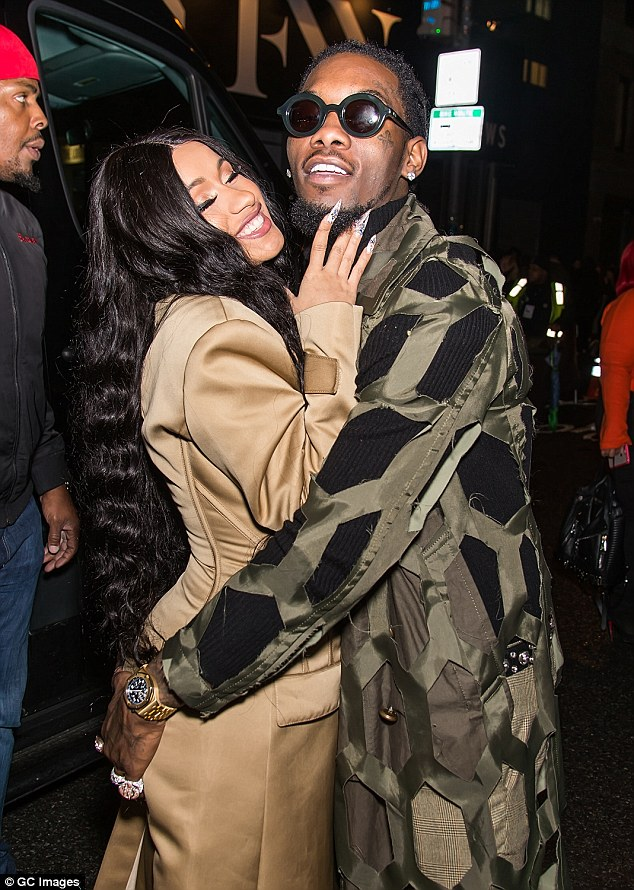 Great gifts: Rapper Cardi B, 25, isn't wasting any time spending her well-earned cash on rapper fiancé Offset, after she dropped $250k (£179k) on a new diamond pendant for him