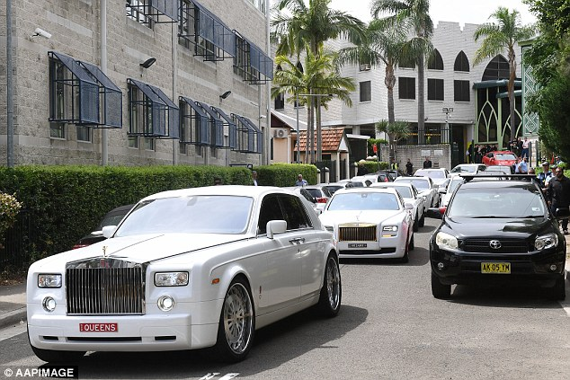 Rolls Royces led a procession of vehicles at the funeral of former Comanchero Mick Hawi