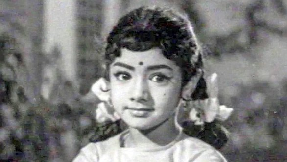 Sridevi landed her first acting role aged four M. A. Thirumugam's film Thunaivan playing a young Lord Muruga, the Hindu war god