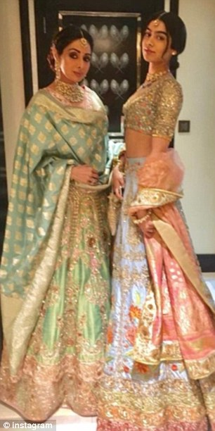 Sridevi and youngest daughter Khushi pose for pictures at the wedding