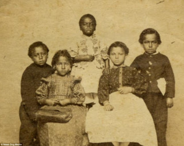 Five former slave children in 1860. Since slave children were not fully functional workers, they were given smaller rations than adults and sometimes not even given clothes. It appears not to have been an unusual sight to see naked children on plantation and even when clothing was provided, it was rarely replaced as they got older
