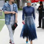 Mel B Stuns in Blue for a lunch date with Hair Stylist