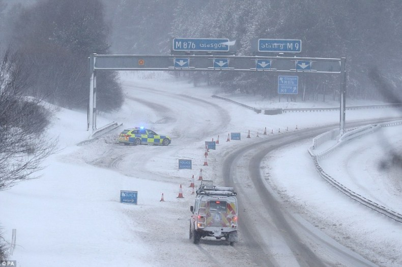 The M876 to Glasgow is closed due to snow today as Britain experiences further widespread snowfall and bitter temperatures