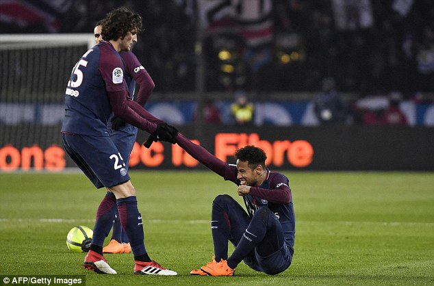 The Brazilian forward was carried off on a stretcher in PSG's win over Marseille last month