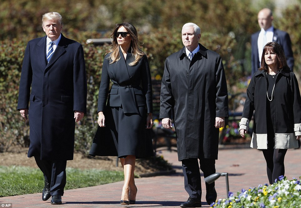 The west wing:President Donald Trump and the First Lady were also in attendance, as were Vice President Mike Pence and his wife Karen (above)