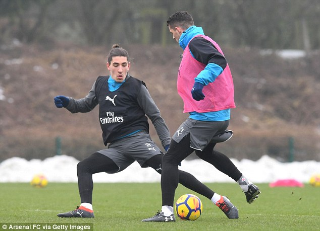 Granit Xhaka and Hector Bellerin do battle during the session at Arsenal's training ground