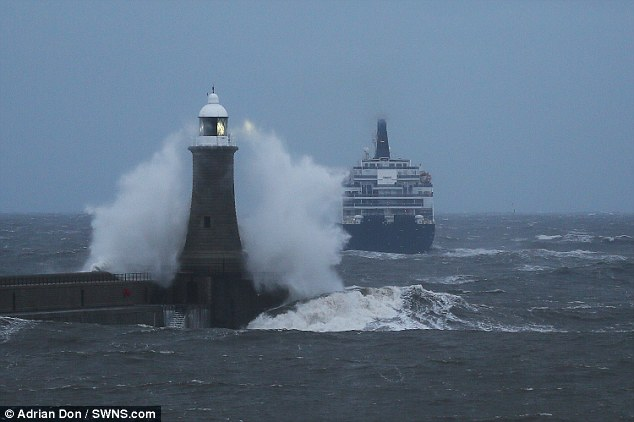 Stormy seas are pictured out of the River Tyne in the north east as a ferry sets off for the Netherlands this afternoon