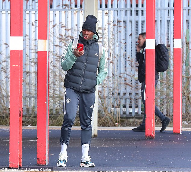 Paul Pogba was amongst the Manchester United players at Stockport railway station
