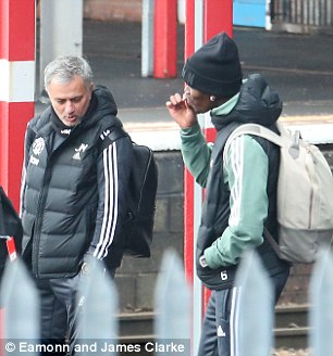 Jose Mourinho was seen talking to Paul Pogba