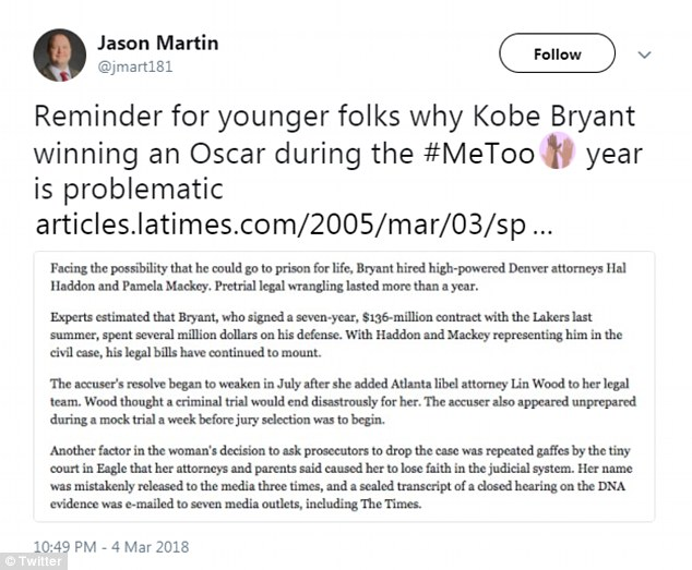 Bryant initially faced a felony sexual assault charge for the same incident, but that criminal charge was dropped six months prior to the settlement, when his accuser decided not to testify, the Los Angeles Times reported