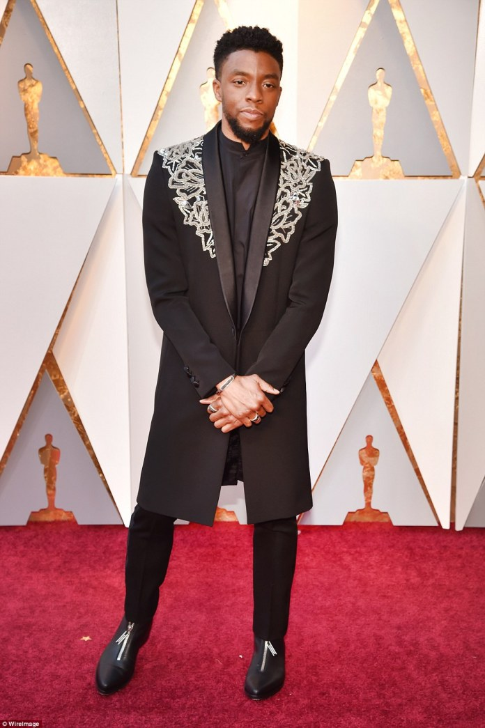 Dapper: The Black Panther star looked good in his Givenchy Fall 2018 Haute Couture jacket