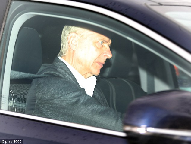 Arsene Wenger arrives at Arsenal's training ground in London Colney on Tuesday morning