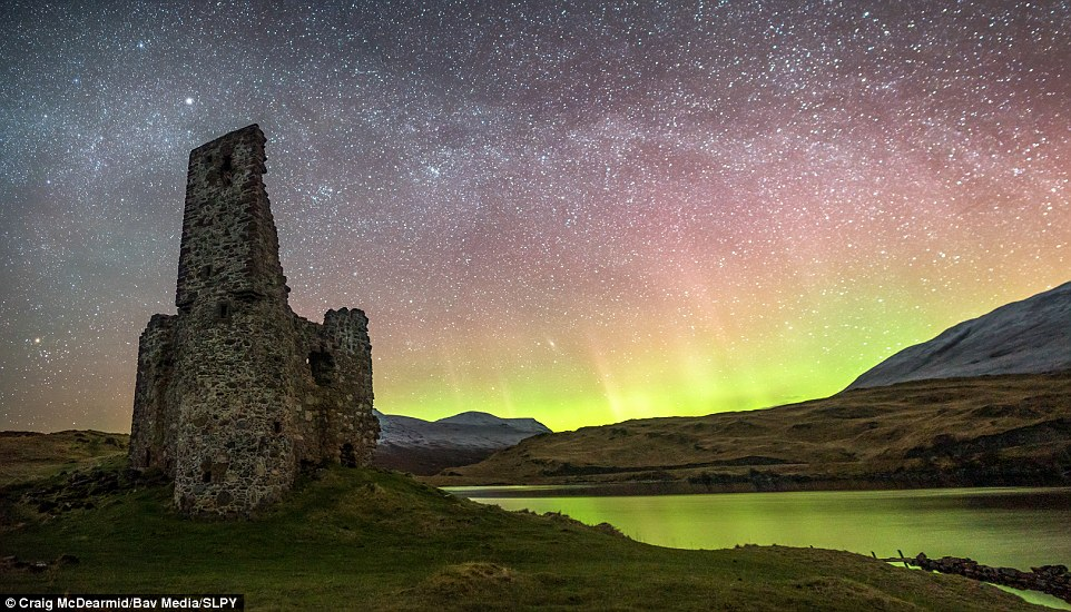 The sky's the limit: This picture by Craig McDearmid shows winter skies at Ardvreck Castle, Loch Assynt. Here, an atmospheric night at the ruins mix with the Northern Lights and the Milky Way above...