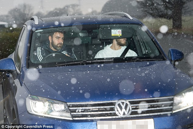 David de Gea was chauffeured in a blue Volkswagen ahead of Thursday's training session