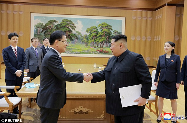 Peace move: Kim Jong Un held face to face talks with South Korea's delegation this week - and has passed a message to Trump offering to meet