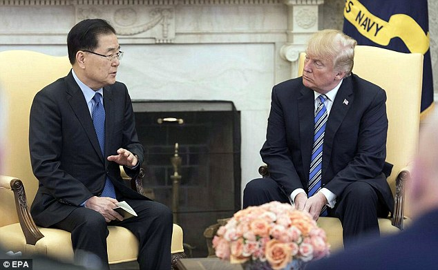 South Korea's national security adviser Chung Eui-yong (L) meeting US President Donald J. Trump (R) at the White House in Washington, DC, USA