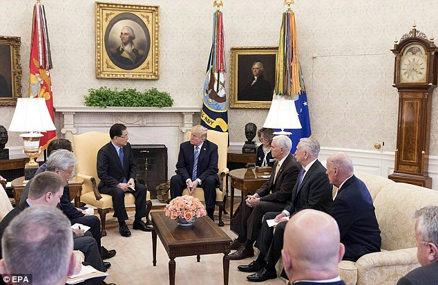 South Korea's national security adviser Chung Eui-yong (C-L) meeting US President Donald J. Trump (C) at the White House in Washington, DC, USA, 08 March 2018
