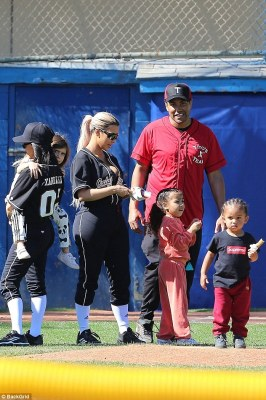 Kim Kardashian and family at their baseball match