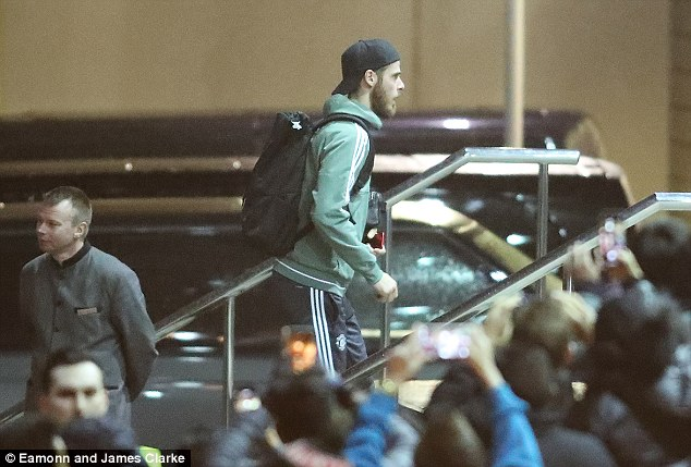 United goalkeeper David de Gea arrives at the team hotel ahead of Saturday's game