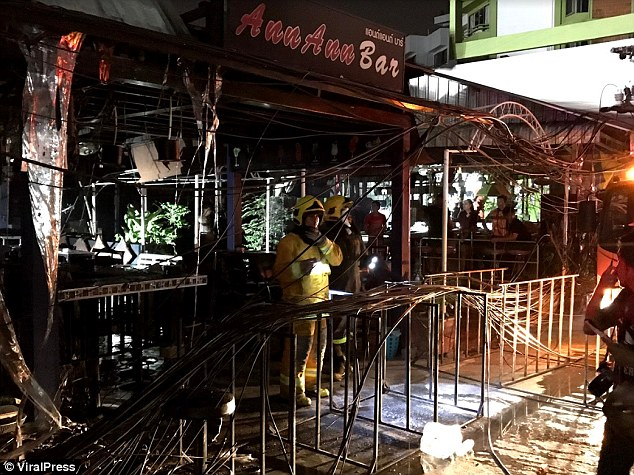 It took fire crews half an hour to bring the blaze under control, but by then several bars were completely gutted