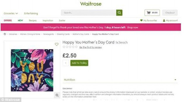 Waitrose offering cards celebrating 'Happy You Day' in its range of Mother's Day gifts in order to make them appropriate for transgender people