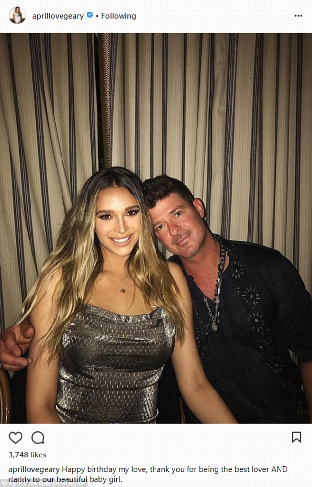 April Love Geary Wishes Babydaddy Robin Thicke Happy 41st Bday Daily Mail Online