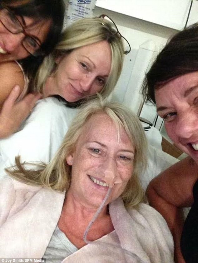 Her friends (pictured) persuaded her to take cannabis tablets alongside her chemotherapy