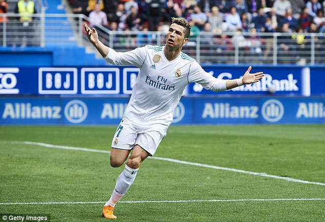 Cristiano Ronaldo scored twice against Eibar on Saturday to help Real Madrid to a 2-1 victory