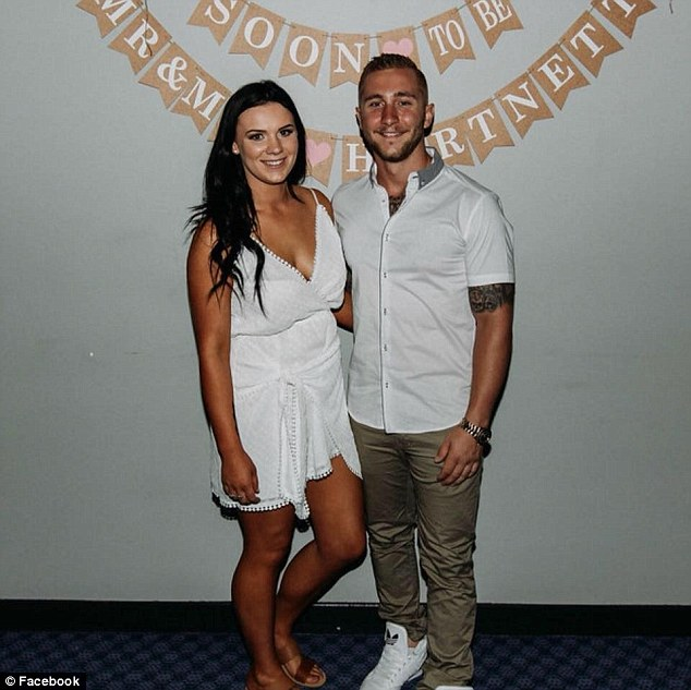 Aidan Harnett, 22, (pictured right) and his fiancee Erin Clayton (left) recently celebrated their engagement