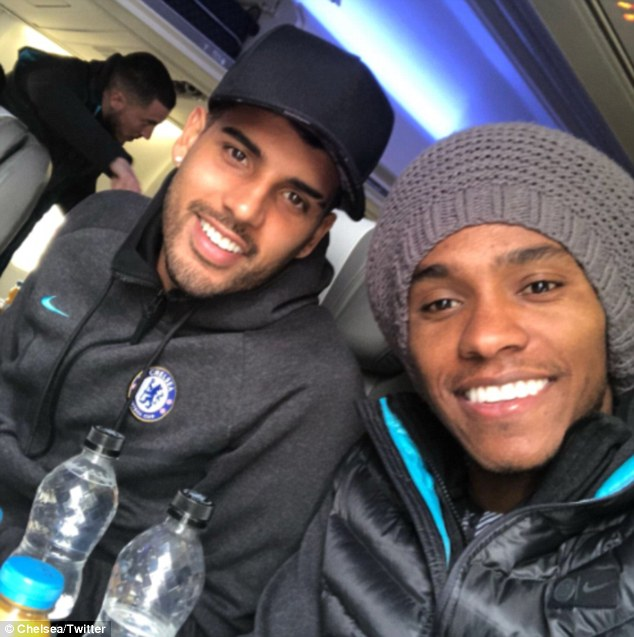 Willian poses with January arrival Emerson Palmieri as the pair share a selfie