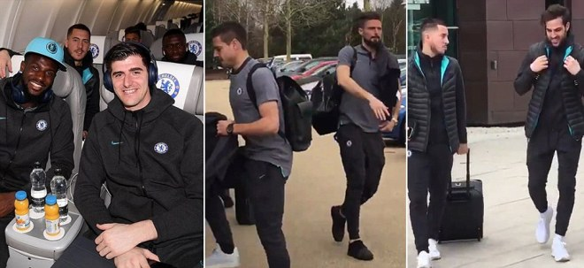 Chelsea board coach at Cobham as they head for Barcelona