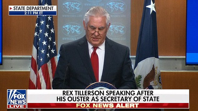 Quitting: Rex Tillerosn issued a statement at the State Department telling how it had been hours between his firing on Twitter and Trump speaking to him