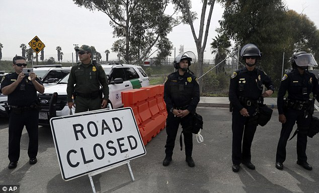 There was a heavy police presence in San Diego for President Trump's visit to the border wall prototypes Tuesday afternoon