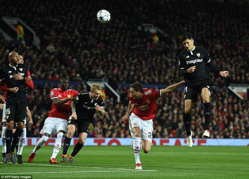 Sevilla's Argentinian Joaquin Correa headed the ball over the United bar from a corner kick in the opening 20 minutes