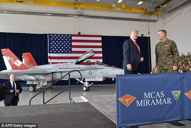 President Trump brought up the border wall on his second California stop as well, at Marine Corps Air Station Miramar