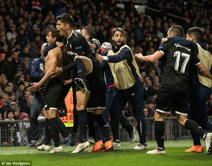 But a double from Wissam Ben Yedder meant the Old Trafford side exited the competition