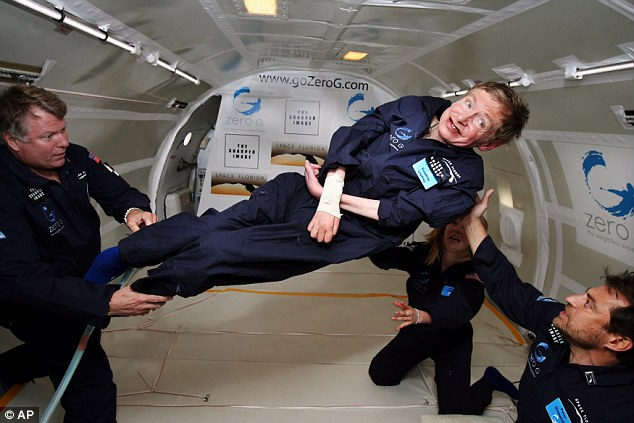 Astrophysicist Hawking floats on a zero-gravity jet in April 2007. The modified jet carrying Hawking, physicians and nurses, and dozens of others first flew up to 24,000 feet over the Atlantic Ocean off Florida