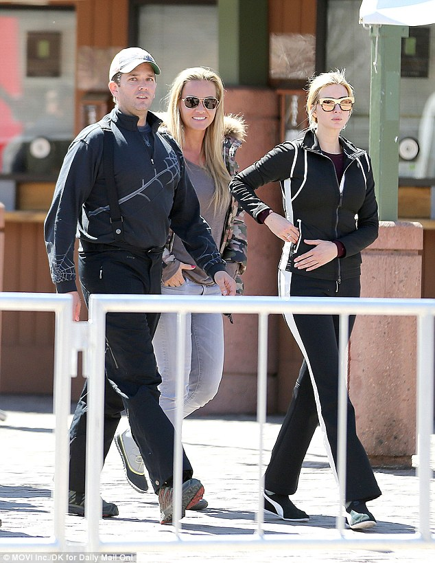 Happier times: The pair were all smiles on a family vacation to Aspen last march, but left early when their son Tristan broke his leg (Don Jr, Ivanka and Vanessa in Aspen)