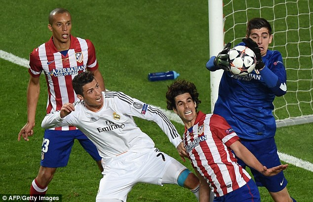 Courtois keeps out Real Madrid star Cristiano Ronaldo while playing for Atletico in 2014