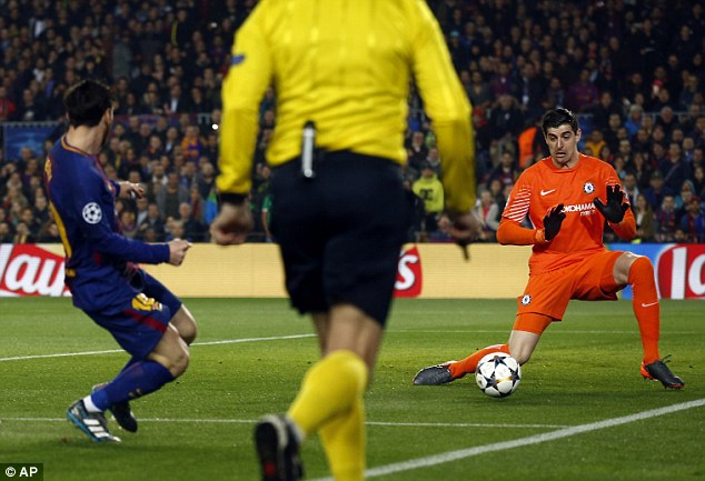 Thibaut Courtois is nutmegged by Lionel Messi for Barcelona's third goal inside three minutes