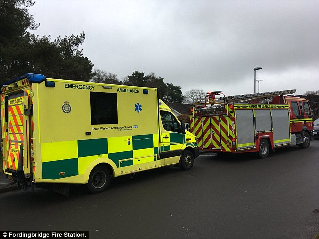 An ambulance and fire engine in Alderholt, Dorset, this morning as the investigation widens