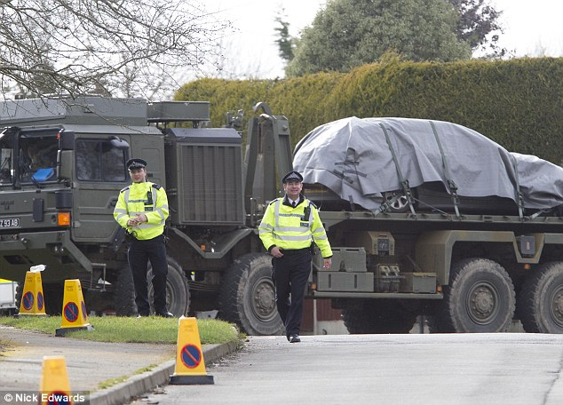 Two large Army low loaders and a crane escorted by police arrived in the village this morning, and were believed to have taken DS Bailey's vehicle awa t of the Salisbury probe
