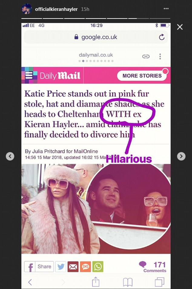 'With an ex... HILARIOUS!': Kieran Hayler continued to suggest that he HASN'T split from Katie Price with this Instagram story post on Thursday despite her claim they will divorce