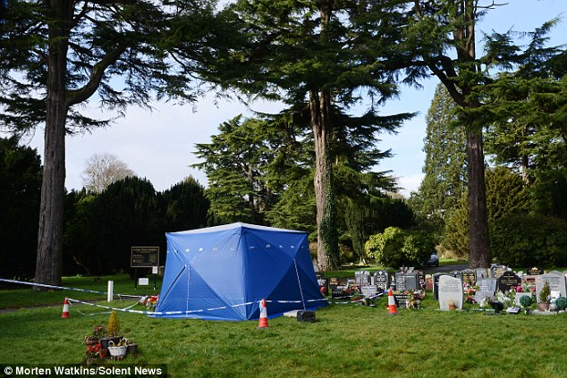 A blue tent covers Sergei Skripal's son's grave at the cemetery in Salisbury this morning