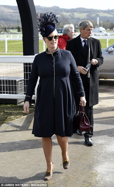 Pregnant Zara Tindall looked chic in navy and gold