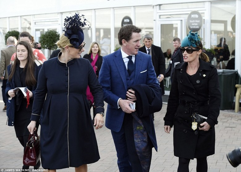 The former equestrian champion was seen catching up with legendary jockey AP McCoy