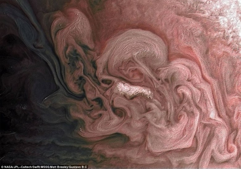 On Feb 7, NASA's Juno spacecraft captured a stunning image of clouds over Jupiter's northern hemisphere. The color-enhanced image was obtained from over 7,500 miles away, at 49.2 degrees north latitude